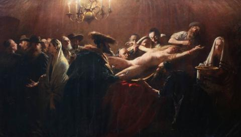 Jewish Ritual Murder by Hungarian painter, Munkácsy Mihály: Allegedly this taboo-breaking piece of art was a very secret work of Hungarian painter genius, Munkácsy Mihály, realized between 1882-1887, at the request of Russian tzar, Alexander III, and inspired by the world-famous Tiszaeszlár Affair (Hungary, 1882),