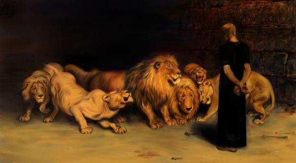 Painting of Daniel in the lion's den