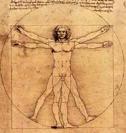 The physique of a man with outstretched hands forms a cross.