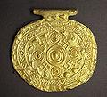 Hooked cross emblem on Etruscan pendant, Bolsena, Italy, 700-650BC