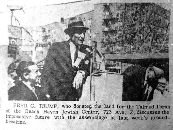 Donald Trump's father, Fred at a ground breaking ceremony where he donated the land for Talmud Torah of the Beach Haven Jewish Center.