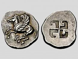 Hooked cross symbol on Greek silver coin, Corinth, 6th century BC