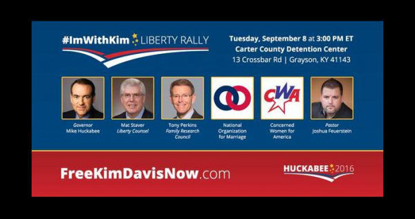 Liberty Rally poster as Huckabee exploits Kim Davis for publicity for his presidential campaign