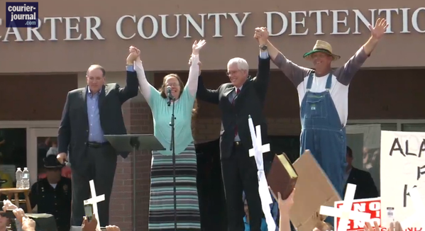 The scene as Kim Davis was released from jail.