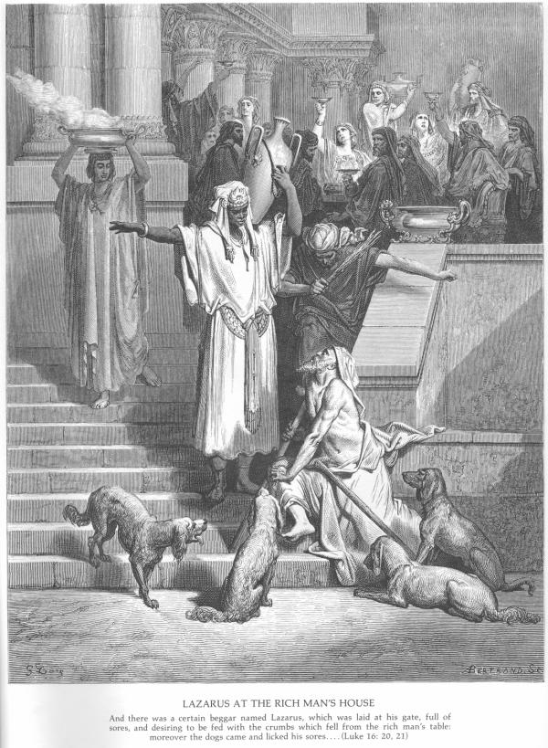 A woodcut by Gustave Dore' titled 'Lazarus at the Rich Man's House'