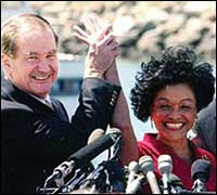 Pat Buchanan and his 2000 presidential running mate Ezola Foster
