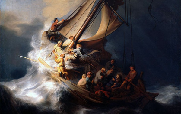 Rembrandt's famous 1633 masterpiece painting The Storm on the Sea of Galilee