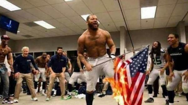 Negro players set ablaze an American flag and the Seattle Seahawk locker room.
