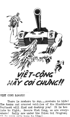 An example of a flyer that was designed by American soldiers In Vietnam