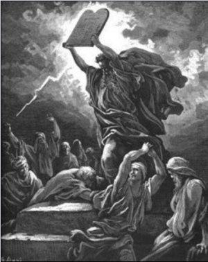 Artwork of Moses holding up 10 Commandment tablet to the Israelites